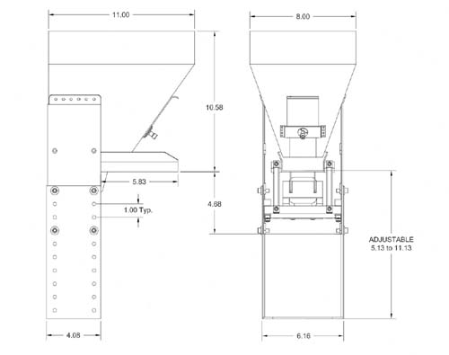 5500s pan feeder hopper dimensions