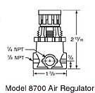 8700 air regulator dimensions