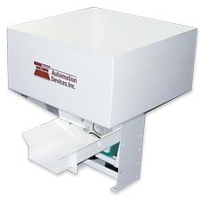 white custom coated pan feeder hopper