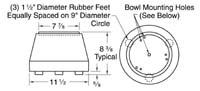 Model 10FA fast angle base unit dimensions