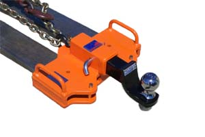 Shackled rhino receiver with ball hitch insert