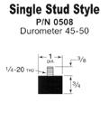 Single stud rubber feet for vibratory feeder