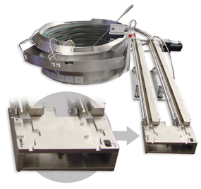 Vibratory feeder bowl with a static parts nest